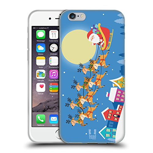 Head Case Designs Angelo Cartoni Di Un Felice Natale Cover Morbida In Gel Per Apple iPhone 6 / 6s Babbo Natale Sulla Slitta