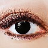 Farbige Kontaktlinsen Schwarz Ohne Stärke mit Motiv Schwarze Fun Linsen für Halloween Karneval Party Fasching Cosplay Kostüm Big Eyes Dolly Black