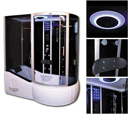 Dampfbad (Home Deluxe ALL IN 4in1 Duschtempel, inkl. Dampfsauna und komplettem Zubehör (schwarz, rechts))