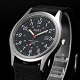 Clearance Sale! Military Army Men's Date Canvas Band Stainless Steel Sport Quartz Wrist Watch BK By YANG-YI
