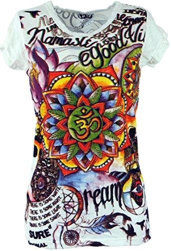 93833141c390 Guru-Shop Sure T-Shirt OM - Weiß bunt, Damen, Baumwolle, Size M (38),  Bedrucktes Shirt Alternative Bekleidung