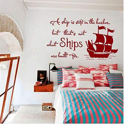 Zitate Kunst Wandtattoo Boot ist sicher Hafen Vorschlag Angebot Embleme Schlafzimmer Vinyl Aufkleber Wohnkultur Kinderzimmer Wandbilder 55x96cm -
