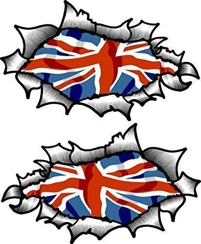 Mano piccola di forma ovale, in metallo, effetto OE modificati con motivo Union Jack, in vinile, motivo casco moto ', 85 x 50 mm ciascuna
