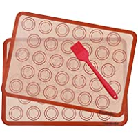 Macarons Tapis de Four et Cuisson en Silicone-Conçu pour le Chef, Jimdada Set de 2 Plaques de Cuisson(42 x 29.5 cm…