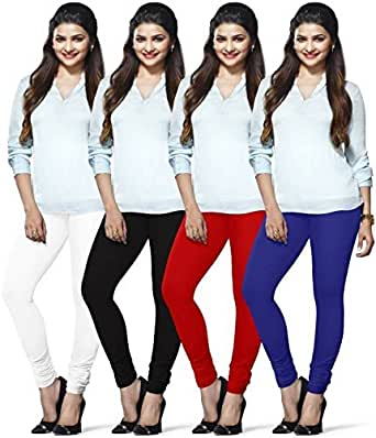 LUX LYRA Women's Cotton Chudidar Leggings (MF-93, Multicolour, Free Size) - Pack of 4n Pieces
