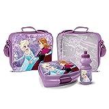 ELSA und Anna Trinkflasche mit Brotbox Set und Kindergartentasche Lunchbox Frozen Tasche mit Brotzeitdose und Flasche Violett Pausenset Frozen Die Eiskönigin Jausen Box für Mädchen