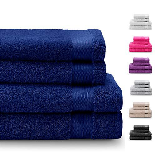 Twinzen Set di 4 Asciugamani e Telo da Doccia 100% Cotone Senza Prodotti Chimici Oeko Tex Std 100 Super Assorbenti Ideali per la Casa Il Bagno Lo