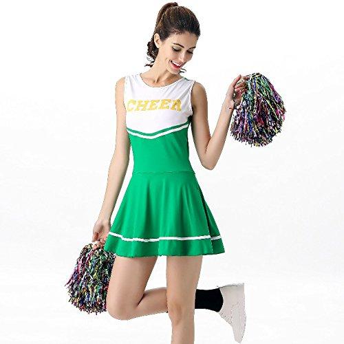 VADOOLL Damen High School Cheerleader Abend Dress Up Party Halloween Kostüm Kleid Outfit GRÜN