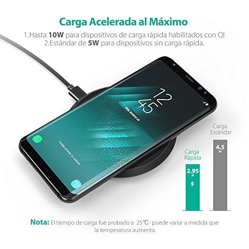 Cargador Inalámbrico Rápido para iPhone X / 8 / 8 Plus y Samsung S8  S8+  S7  S7 Edge  S6 de RAVPower 10W Anti Deslizamiento Diseño para Samsung y iPhone y Teléfonos Qi enabled