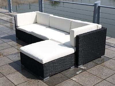 Polyrattan Eckcouch COPA schwarz Loungemöbel