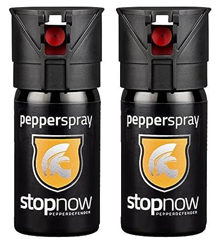 stopnow pepperdefender Pfefferspray mit Sprühstrahl 40 ml, inkl. Broschüre Pfefferspray Guide,