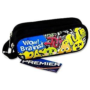 Premier Stationery C5615891 Emoji Wow Brains – Estuche ovalado con 2 bolsillos y cremallera