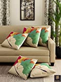 #6: Romee Multicolor Polyester Jute Fabric Maple Leaves Print Cushion Cover 16