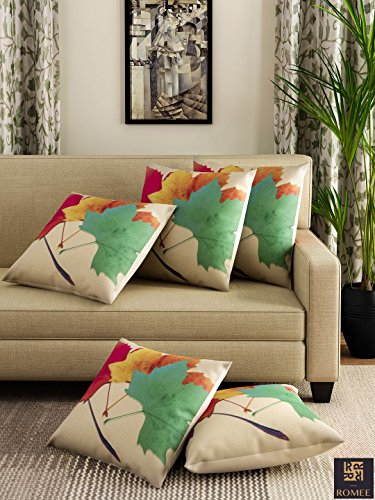 Romee Multicolor Polyester Jute Fabric Maple Leaves Print Cushion Cover 16