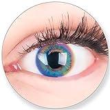 Blaue Kontaktlinsen OHNE Stärke - für Braune Dunkelbraune und Schwarze Dunkle Augen - mit Kontaktlinsenbehälter. Zwei Farbige Saphir Blaue 3 Monatslinsen