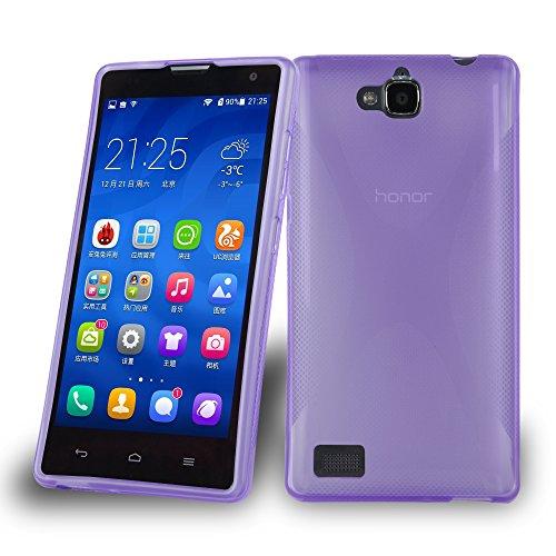 Preisvergleich Produktbild Cadorabo Hülle für Honor 3C Hülle in Handyhülle aus flexiblem TPU Silikon im X-Line Design Silikonhülle Schutzhülle Soft Back Cover Case Bumper Flieder Violett