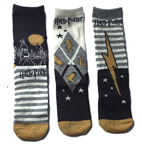 Harry Potter Socks 3 Pair Pack (One Size, Grey)