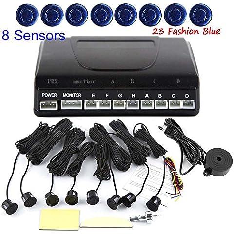 Eaglerich LED Aparcamiento Sensor Kit Display 8 sensores (4 + 4 delante hacia atr¨¢s) 22mm 12V para todos los coches Reverse Radar azul Asistencia del respaldo de sistema del monitor 23-moda