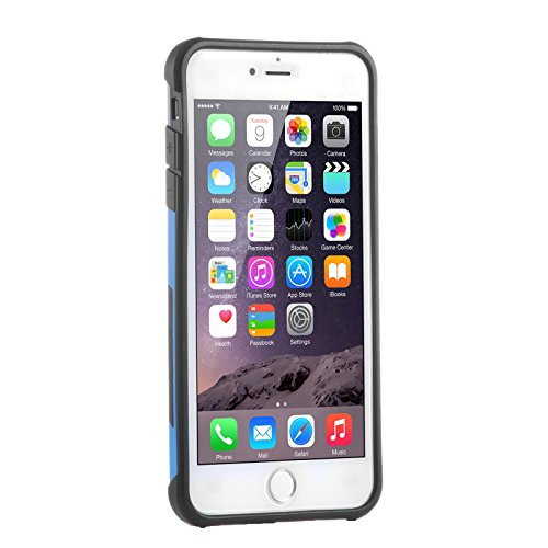 """iPhone 6S Plus 5.5"""" Coque , SHANGRUN Coque hybride antichoc série Housse Antichoc Silicone TPU Hybride avec Béquille Argent Case pour iPhone 6 Plus / 6S Plus (5.5"""") Doré Bleu"""