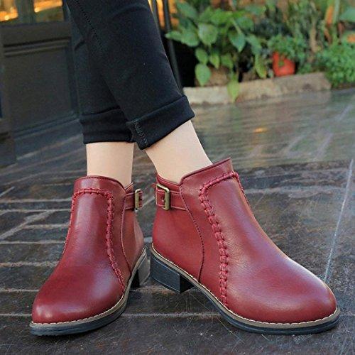 35~44,Amlaiworld Donne stivali di cuoio chunky tacchi Vino rosso