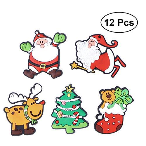 BESTONZON 12 stücke Weihnachten Serie Weicher Kunststoff Silikon Kühlschrankmagnete Cartoon Whiteboard Kühlschrankmagnete Kinder Nachricht Post Dekoration (zufällige Muster)