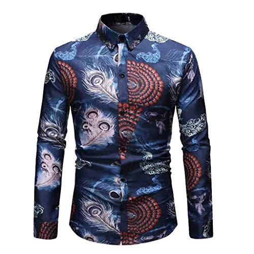 Herren Casual 3D Gedruckt Muster Langarm-Shirt Aloha Freizeit Hemd Slim Fit Button Turn-Down Collar Sommer Hemden -
