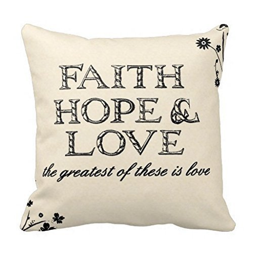 New Faith Hope Love Parchment Throw Pillow Cover Stylish,Decorative,Unique,Cool,Fun,Funky Beauty POP 18 X 18 Inch Two Sides Navy Pillow Cases -