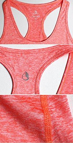 icyzone Débardeur et Tops de Sport Gilet Femme T-Shirt sans Manches Yoga Fitness Elastic Vest Orange Heather