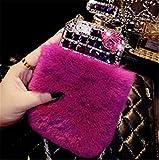 Fusicase design profumo di lusso Bling Rex pelliccia di coniglio strass capelli peluche manicotto della custodia cover per iPhone 5/5S/6/6S/6Plus 6S Plus + 1supporto come regalo, colore casuale
