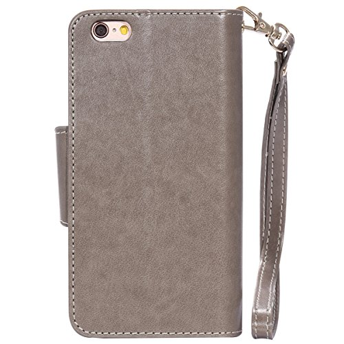 JAWSEU iPhone 6S Custodia in Pelle Portafoglio, Cover iPhone 6, Lusso 3D Modello Goffratura Arts Lusso PU Leather Folio Case per iPhone 6/6S Custodia Cover con Gel Silicone Interno Case e Porta carte  Donna e gatto, Grigio