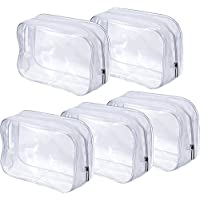 5 Piezas de Bolsa de Aseo con Cremallera PVC Bolsa Portátil de Maquillaje Cosméticos Transparente para