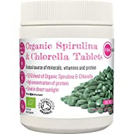 PINK SUN Organic Spirulina and Chlorella Tablets 500mg x 1000 Combined Tabs 50:50 Blend, Gluten Free, Non GM, Suitable for Vegetarians and Vegans, Certified by the Soil Association Bulk Buy 500g