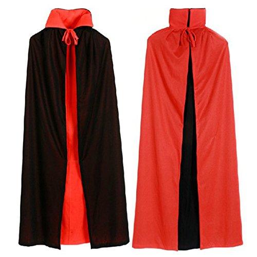 Dreamworldeu - mantello reversibile per costume di halloween, da uomo, colore: nero/rosso