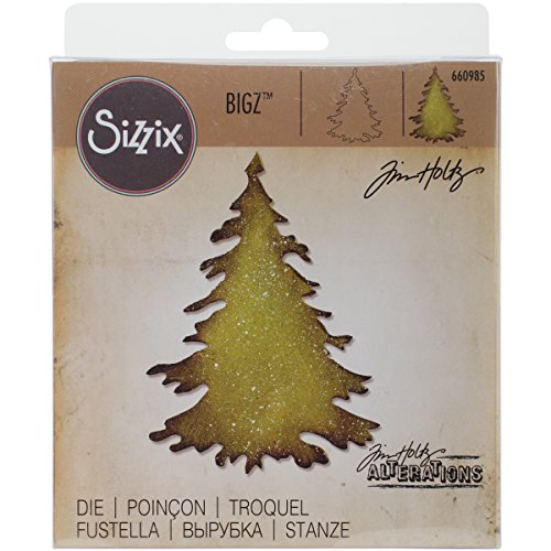 Sizzix Bigz Fustella, Sempreverde, Acciaio Inossidabile, Bianco, 1.9x14x17.39 cm