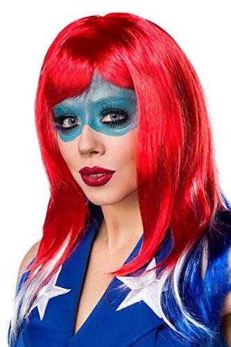 Rote blau weiße Damen Stufen Perücke Wig mit fransigen Schnitt und Pony Amerika Perücke (Farbige Kostüme Perücken)