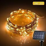 Cadena de Luces, Solar Tira Lamparas, Guirnalda de Luces 22m con 200 LED, Decoración Perfecta para Navidad, Fiesta, Boda, Jardín