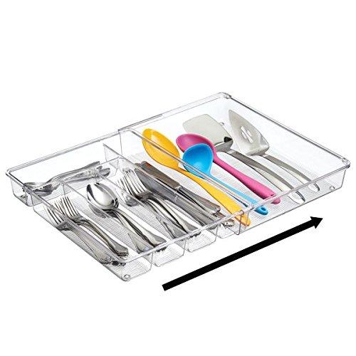 mDesign Cubertero para cajones de cocina extensible - La bandeja para cubiertos perfecta - Ideal para guardar cucharas, cuchillos, tenedores y otros utensilios de cocina - transparente