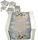 bezaubernde Tischdecke 40 x 85 cm WEIHNACHTEN Winter hellgrau beige Kerze grün Foto-Print (Tischläufer 40x85 cm)