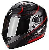 SCORPION Helm EXO-490 VISION schwarz-rot Motorradhelm mit Sonnenblende Größe L 59/60