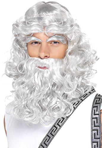 Smiffys Herren Zeus Perücke, Perücke mit Bart und Augenbrauen, Grau, One Size, (Mit Kostüme Perücke)