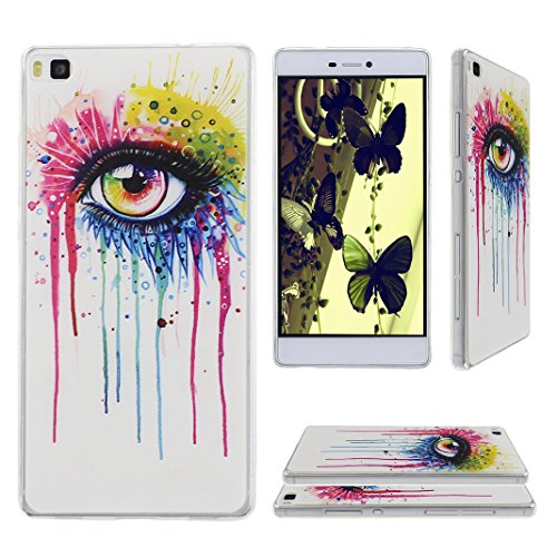Preisvergleich Produktbild Asnlove TPU Weich Schutzhülle für Huawei Ascend P8 Hüll Tasche Case Handyhülle Schutz Etui Handytasche Cover Schutztasche(Kunst Augen)