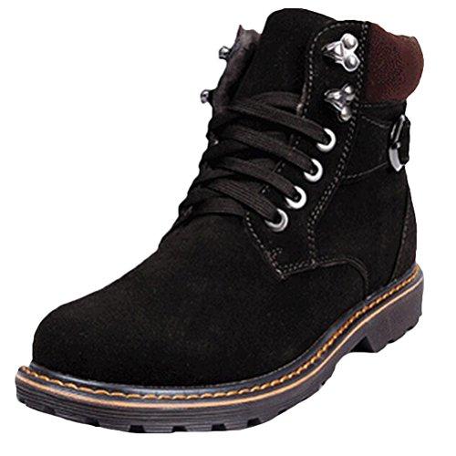 Vogstyle Herren Classic Worker Boots Outdoor Stiefeletten Zipper Warm Gefüttert Stiefel Schwarz