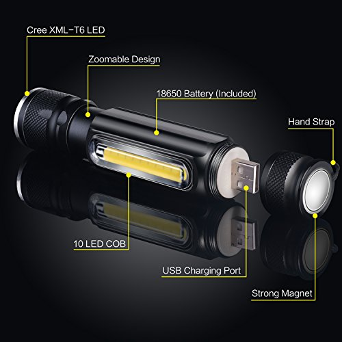 Cofuture LED Taschenlampe USB Handlampe T6 800 Lumen Zollbar Fokus mit Magnetischer Fuß Taktische Lampe mit COB Seitliches Lampe