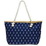 CASPAR TS1022 große Canvas Damen Strandtasche / Shopper mit ANKER Print, Farbe:dunkelblau;Größe:One Size