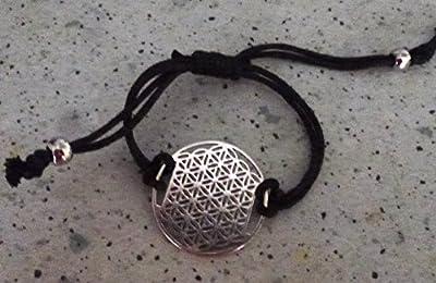 bracelet fleur de vie cordons noirs