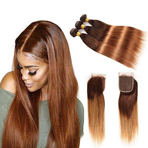 Extension di capelli veri, effetto sfumato, con chiusura a laccio, capelli umani di due tonalità, colore t4/30,ciocca di capelli umani di grado 8 a