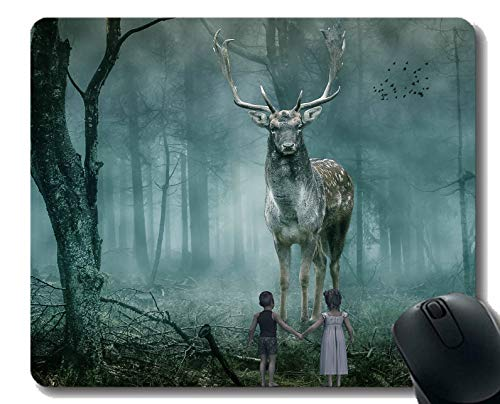 Gaming Mouse Pad Design, Deer Wald Kinder Nebel Vogel - Genähte Kanten Logo Steak
