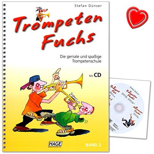 Trompeten Fuchs Band 2 - geniale und spaßige Trompetenschule von Stefan Dünser - Lehrbuch mit CD und bunter herzförmiger Notenklammer