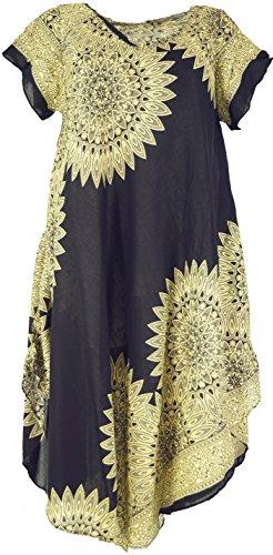 Strandkleid, Sommerkleid, Oversize, Damen, Schwarz, Viskose, Size:One Size, Lange & Midi Kleider Alternative Bekleidung (Plus Größe Hippie Kleider)