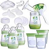 MAM Handmilchpumpe 28-teiliges Starterset Komplettset Babyflaschen Muttermilch Becher Flaschensauger Stillhütchen Stilleinlagen